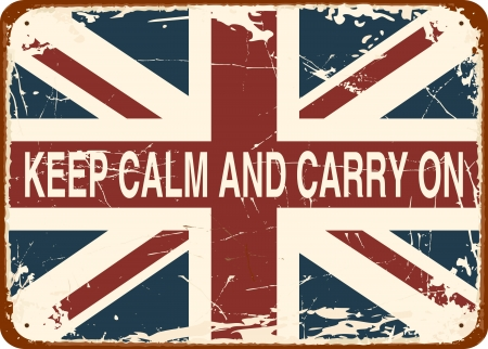 grunge union jack: Keep Calm and Carry On against the British flag vintage tin sign