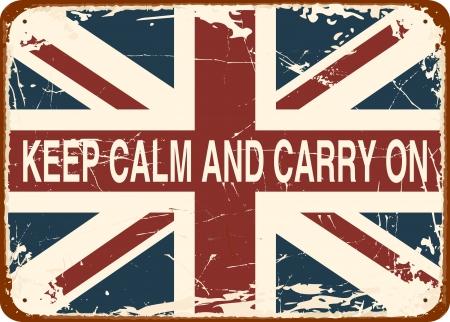 slogan: Mantener la calma y seguir adelante contra el Cartel de chapa bandera brit�nica de �poca