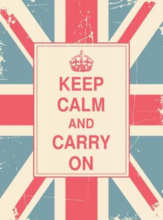 Gardez le calme et continuez contre le drapeau britannique