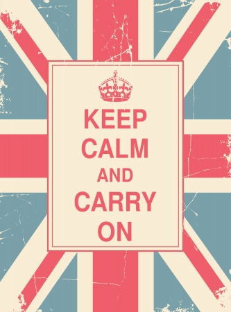 Keep Calm and Carry On against the British flag  Vector