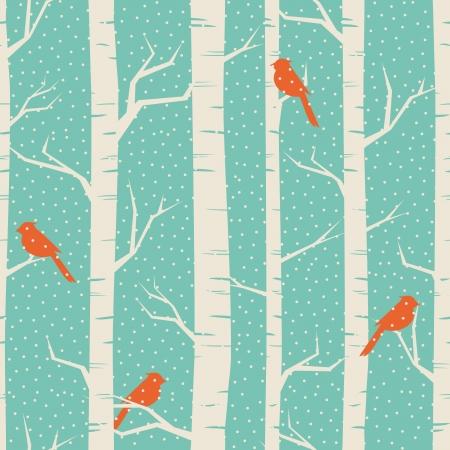 Patrón sin fisuras con los abedules y los pájaros en invierno