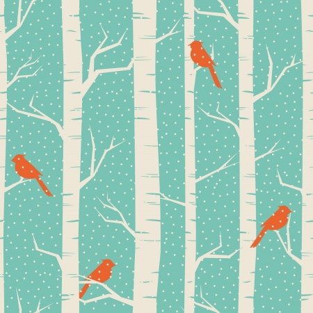 Seamless pattern with birches and birds in winter