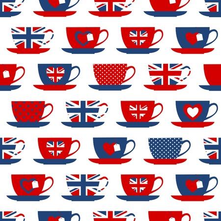 brit�nico: Seamless com x�caras de ch� nas cores da bandeira brit�nica Ilustra��o