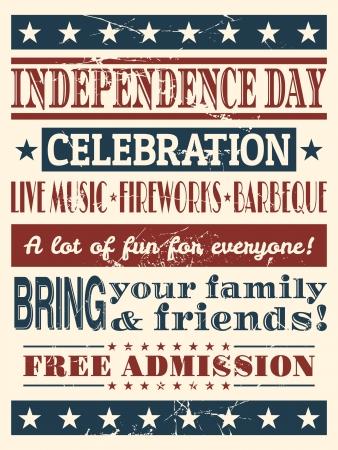 fourth of july: Stile vintage poster per il Giorno dell'Indipendenza