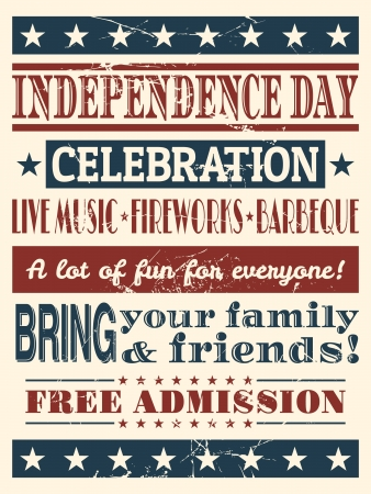Vintage style poster for Independence Day   Vector