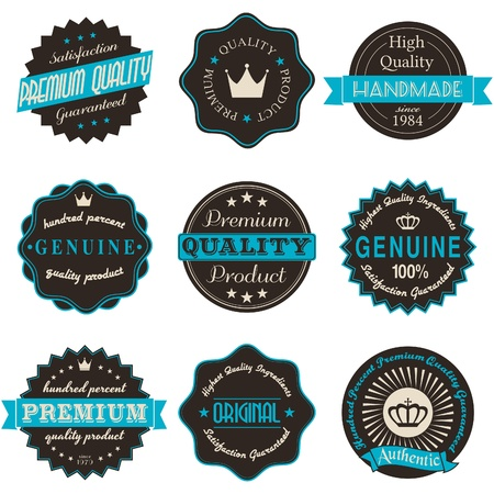 commitments: A set of nine vintage labels isolated on white