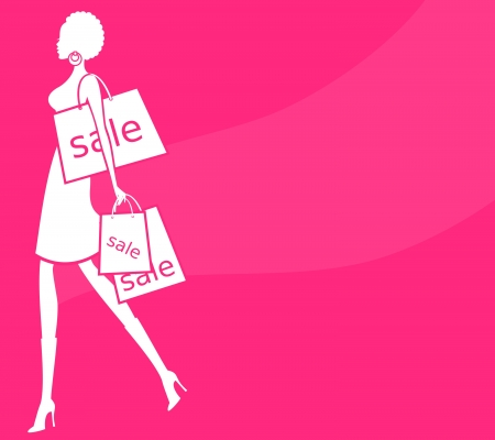 Ilustrace mladé ženy s nákupní tašky proti růžové pozadí