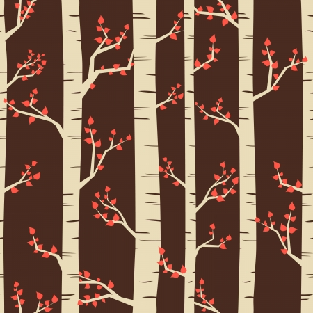 Seamless pattern with birch trees in autumn. Vector