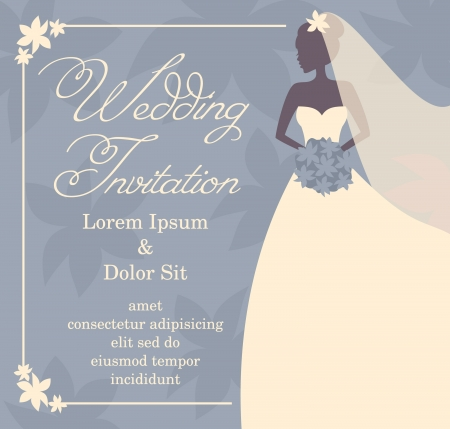 bridal bouquet: Wedding invitation template with beautiufl brides silhouette.