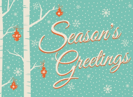 seasons greetings: Christmas greeting card design. Illustration