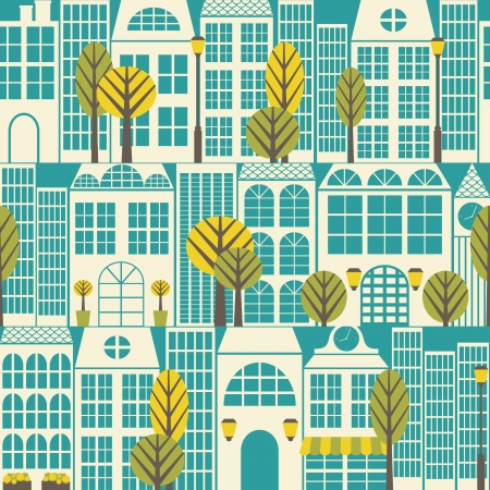 Seamless pattern with buildings and trees. Vector