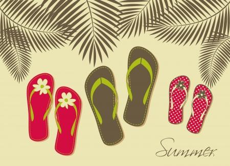 Illustration von drei Paar Flip-Flops am Strand. Sommerurlaub mit der Familie Konzept.