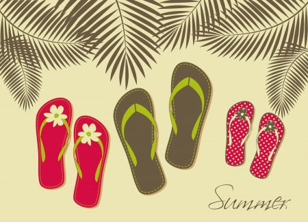 sandalia: Ilustraci�n de tres pares de flip-flops en la playa. Verano, vacaciones en familia en concepto. Vectores
