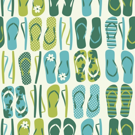 Seamless pattern with flip flops in green and blue. Vector