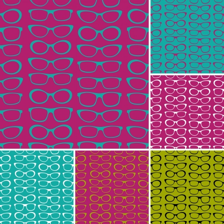 A set of seamless patterns with sunglasses. Vector