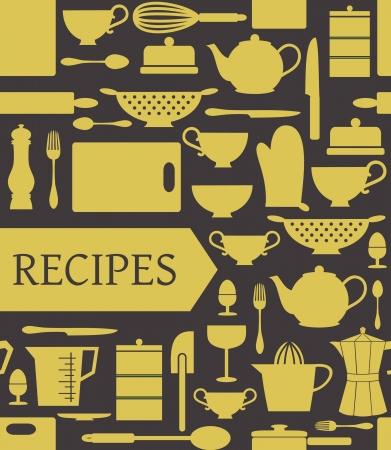 Receptenkaart met verschillende keukenaccessoires en een banner.