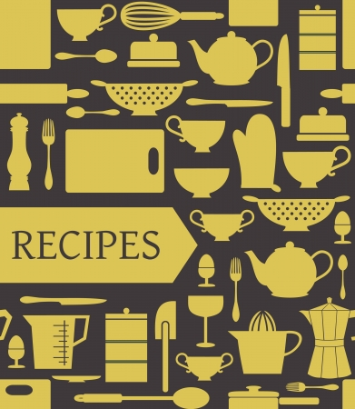dinnerware: Recipes card with different kitchen accessories and a banner.