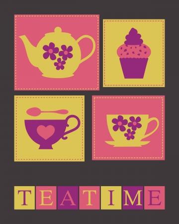 Illustratie van schattige theekopjes, theepot en een cupcake.