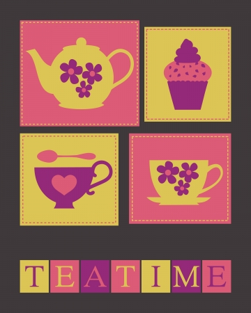 Illustration of cute teacups, teapot and a cupcake.