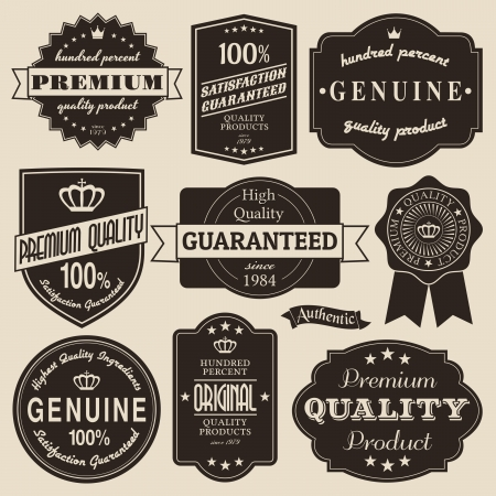 A set of vintage design labels and badges. Vector