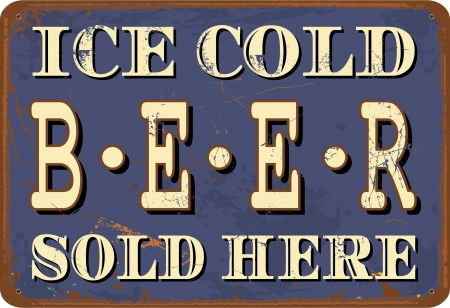 Vintage style tin sign Ice Cold Beer. Vector