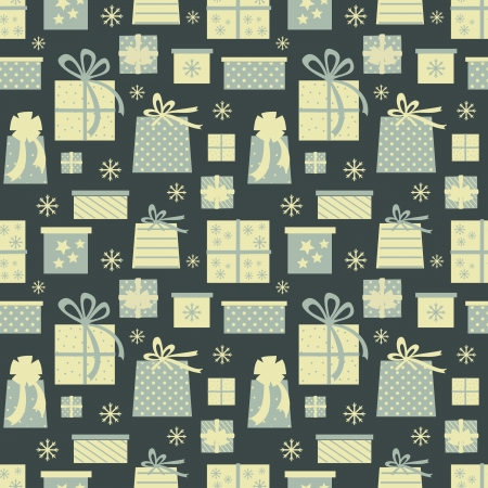 Seamless pattern with Christmas presents and snowflakes. Vector