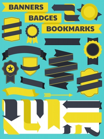 A set of retro style banners, bookmarks and badges. Stock Vector - 14199890