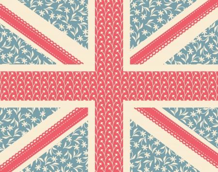 union jack flag: Vintage floral British flag.