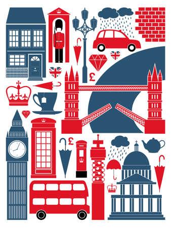 brit�nico: Um conjunto de s�mbolos de Londres e monumentos.