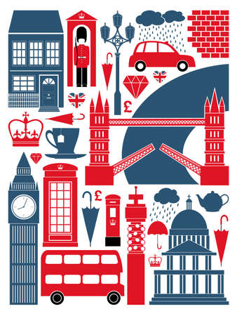 drapeau angleterre: Un ensemble de symboles de Londres et des monuments.