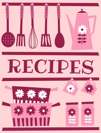 recipe book: Illustration of kitchen accessories in retro style. Recipe card design.