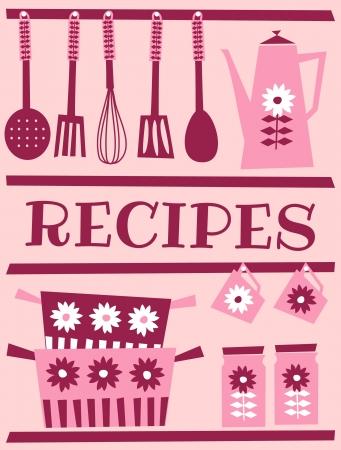 retro kitchen: Illustration of kitchen accessories in retro style. Recipe card design.