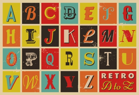 retro type: Colorful retro style letters.