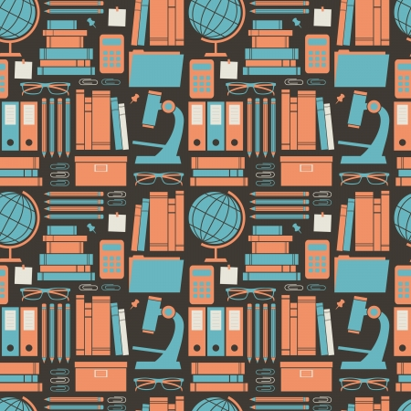 Seamless pattern with education and school items.  Vector