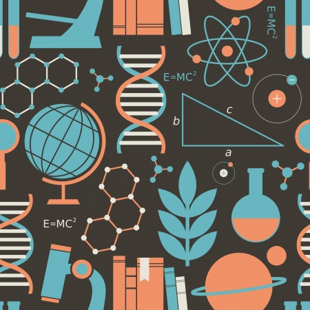 PROTON: Seamless pattern with science and education symbols. Illustration