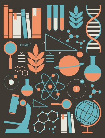 A set of science and education symbols in orange and blue.