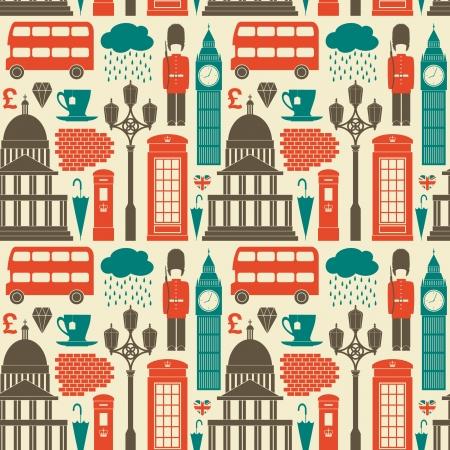 british culture: Patr�n sin fisuras con los s�mbolos y monumentos de Londres. Vectores