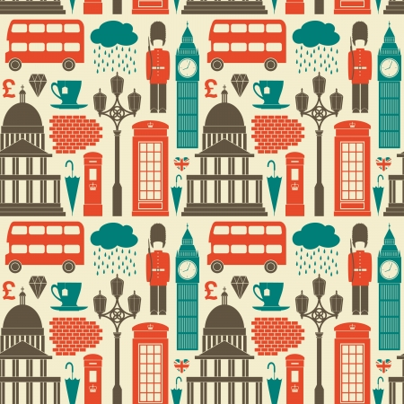 Seamless pattern with London symbols and landmarks. Vector