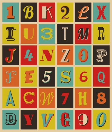 paper spell: Colorful retro style letters and numbers. Illustration