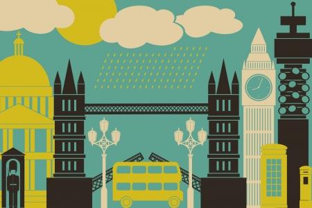 londres autobus: Ilustraci�n de los s�mbolos y monumentos de Londres.