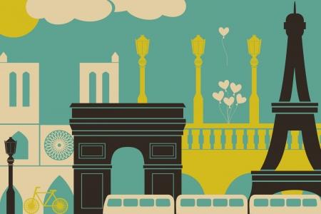 paris vintage: Ilustración de los símbolos y monumentos de París.