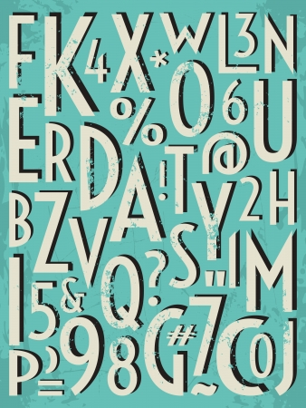 paper spell: A set of letters and numbers in retro style. Illustration