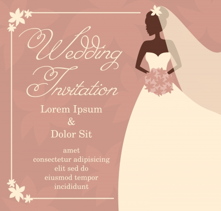 Illustration of a beautiful bride holding a bouquet  Bridal shower wedding invitation template