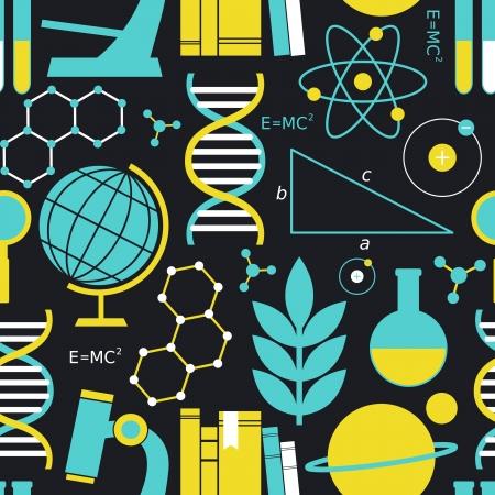 educativo: Patrón sin fisuras con los símbolos de la ciencia y la educación