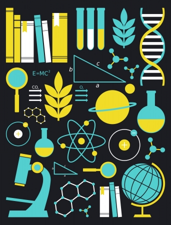 Um conjunto de símbolos da ciência e da educação em amarelo e azul