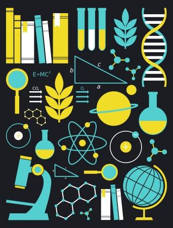archivi: Un insieme di simboli scienza e istruzione in giallo e blu