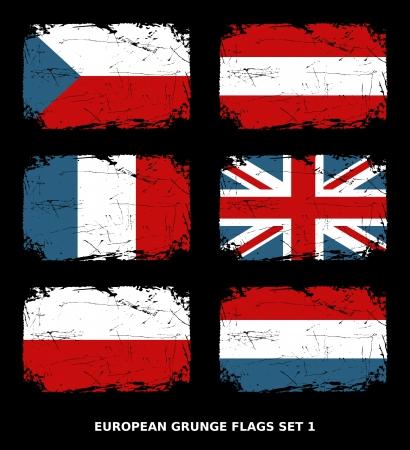Flags of 6 European countries