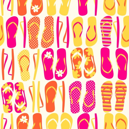 Seamless pattern with colorful flip flops
