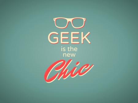 friki: Fresco estilo retro cartel Geek es el nuevo y elegante Vectores