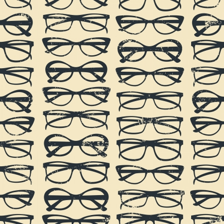 fashion glasses: Seamless pattern with glasses in vintage style  Illustration